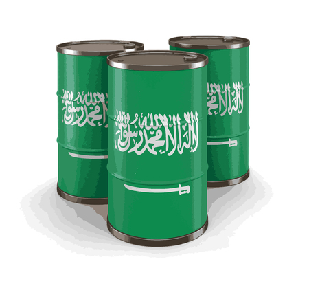 Oil barrel with flag of Saudi Arabia.