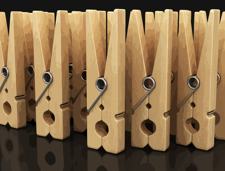 Wooden clothespins. Illustration
