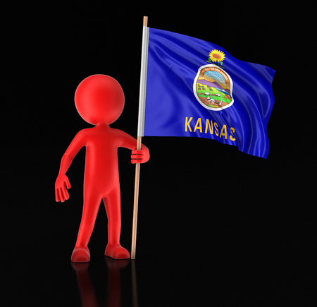 Man and flag of the US state of Kansas. Image with clipping path Imagens
