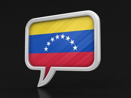 Speech bubble with Venezuela flag. Image with clipping path