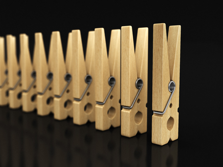 Wooden clothespins. Image with clipping path