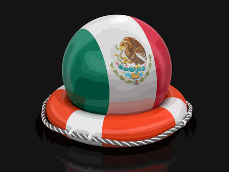 Ball with Mexican flag on lifebuoy. Image with clipping path Illustration