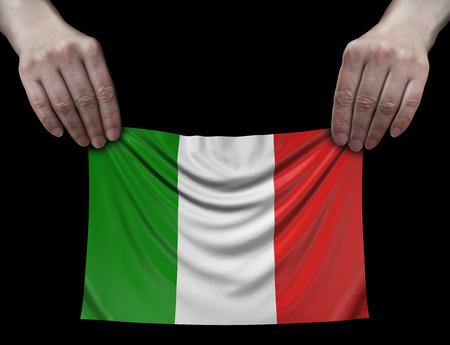 Italian flag in hands