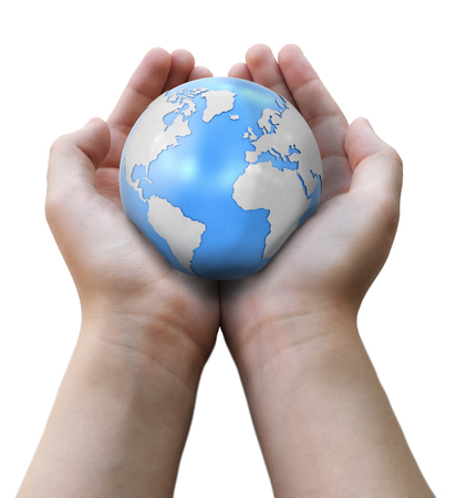 Globe in hands. Image with clipping path Banco de Imagens