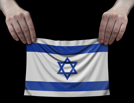 Flag of Israel in hands