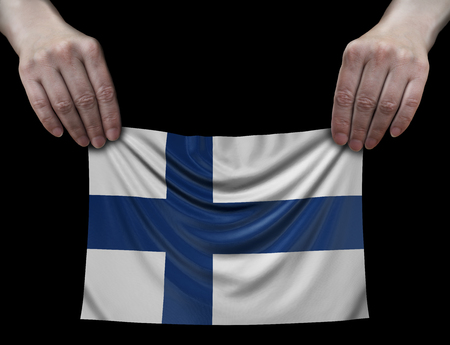 Finnish flag in hands Imagens