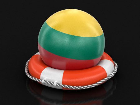 Ball with Lithuanian flag on lifebuoy. Image with clipping path