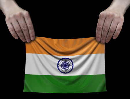 Indiian flag in hands Imagens