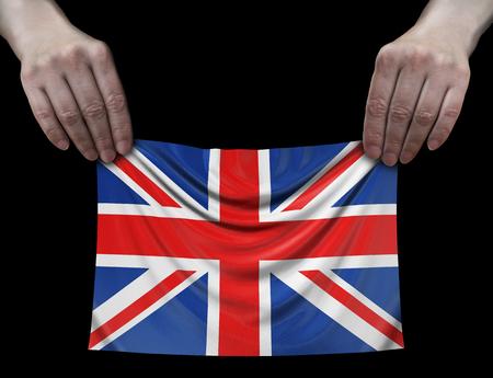 British flag in hands