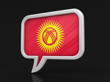 Speech bubble with Kyrgyz flag. Image with clipping path Banque d'images