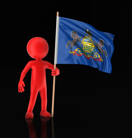 Man and flag of the US state of Pennsylvania. Image with clipping path Stock Photo