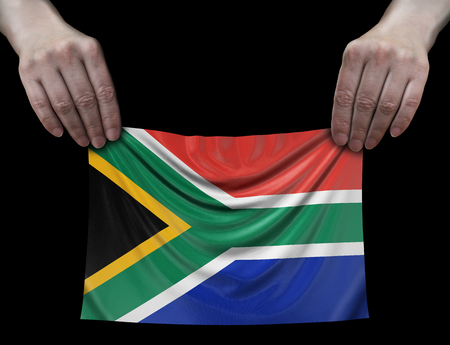 South African republic flag in hands
