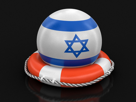 Ball with Israeli flag on lifebuoy. Image with clipping path