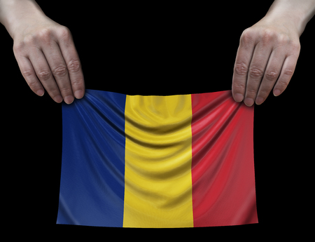 Romanian flag in hands