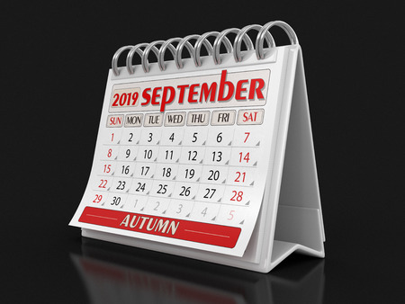 Calendar - September 2019 (clipping path included)