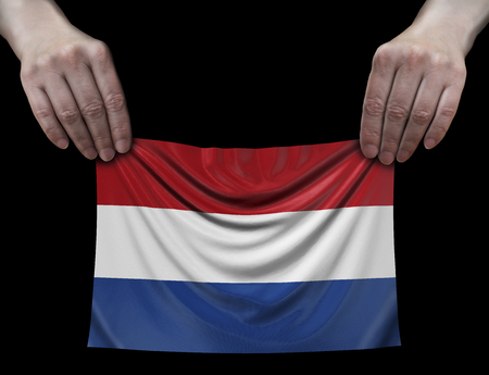 Netherlands flag in hands