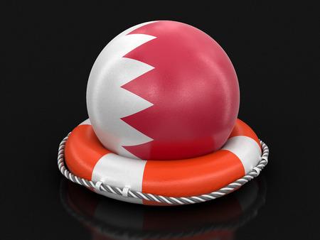 Ball with Bahrain flag on lifebuoy. Imagens
