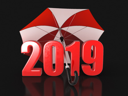 Year 2019 under an umbrella. Image with clipping path