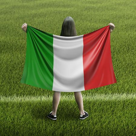 Women and Italian flag Archivio Fotografico