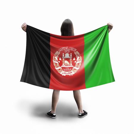 Women and Afghani flag Imagens