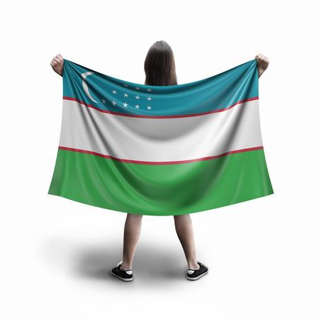 Women and Uzbek flag Archivio Fotografico
