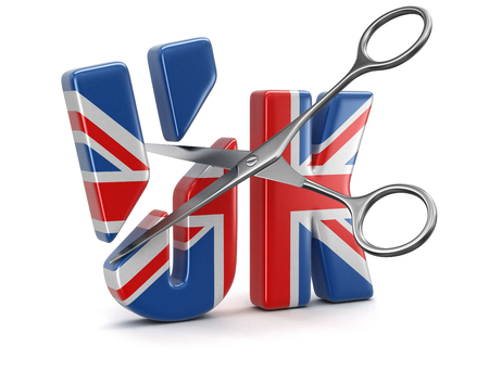 Scissors and text UK with flag. Image with clipping path Stock fotó