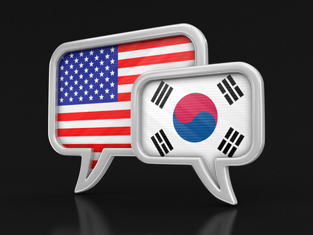Speech bubbles with flags. Image with clipping path