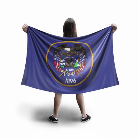 Women and Utah flag Archivio Fotografico