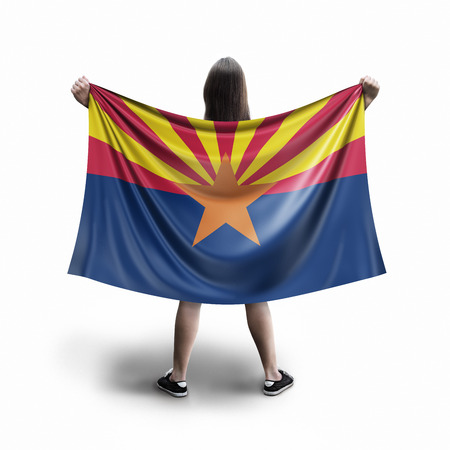 Women and Arizona flag