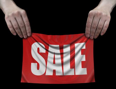 Banner with Sale in Hands Banco de Imagens