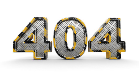 Metal 404 text. Image with clipping path.