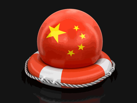 Ball with Chinese flag on lifebuoy. Image with clipping path