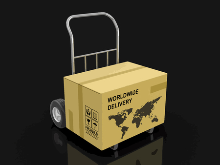 Cardboard Box on Hand Truck with World Map