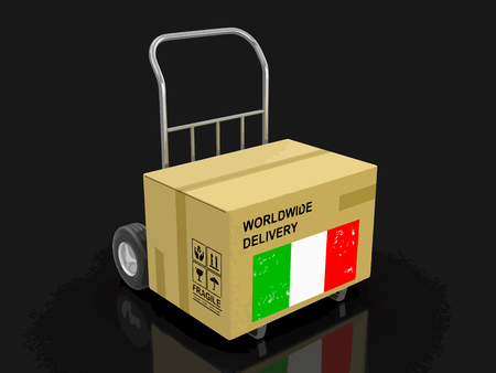 Cardboard Box on Hand Truck with Italian flag. Image with clipping path Illustration