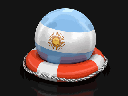 Ball with Argentinian flag on lifebuoy. Image with clipping path