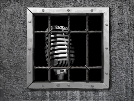 Microphone behind fence