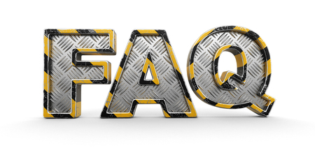 Metal FAQ text. Image with clipping path. Imagens