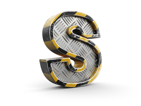 Yellow striped metallic font - letter S. Image with clipping path