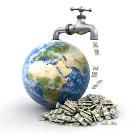 3d Globe and faucet with Dollars. Image with clipping path Stok Fotoğraf
