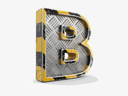 Yellow striped metallic font - letter B. Image with clipping path Çizim