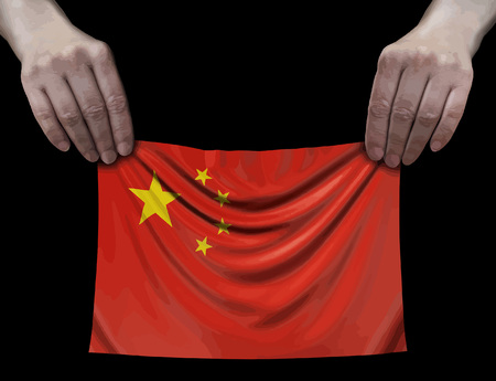 Chinese flag in hands Ilustração