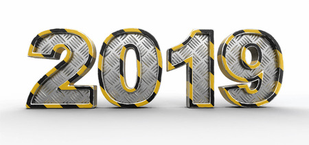 Metal New Year 2019. Image with clipping path.