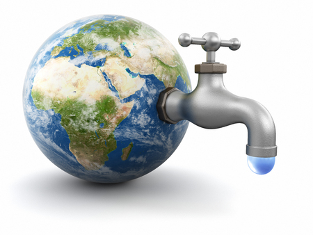 3d Globe with Water tap. Image with clipping path