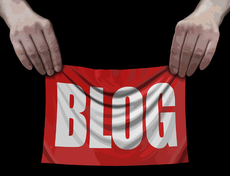 Banner with Blog in Hands