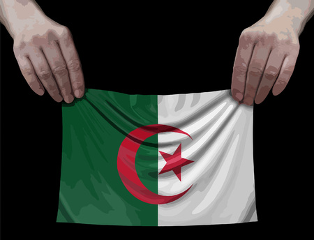 Algerian flag in hands