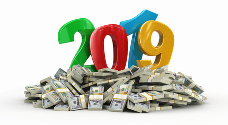 New Year 2019 and Dollars. Image with clipping path