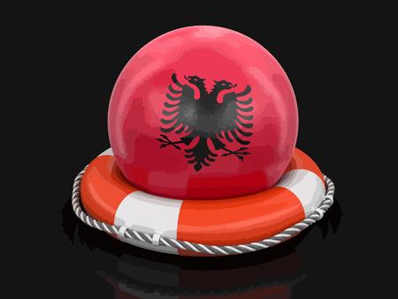 Ball with albanian flag on lifebuoy