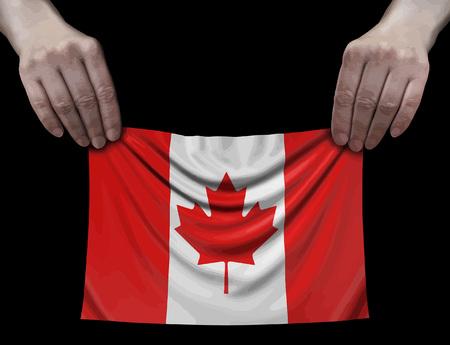 Canada flag in hands Ilustração