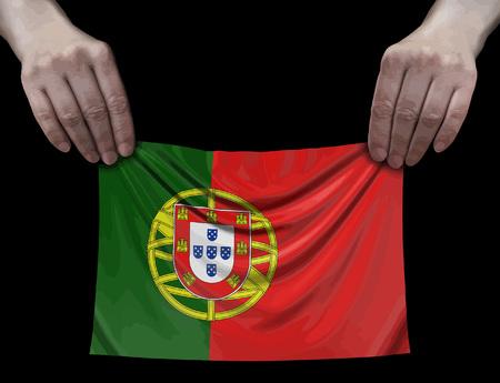 Portuguese flag in hands Ilustração