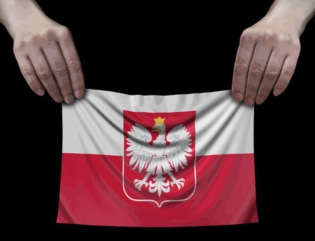 Polish flag in hands